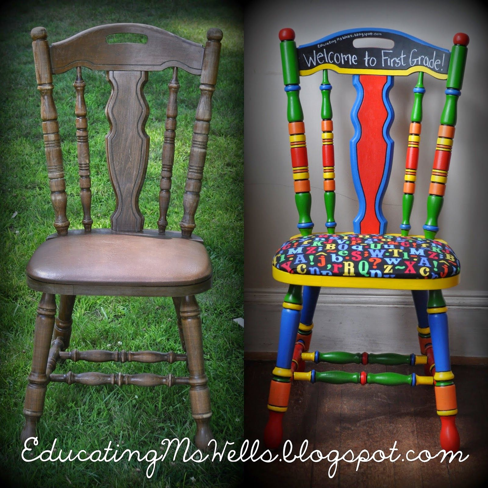 Teacher Chair Painted Teacher Chair With Chalkboard Paint For A Circus