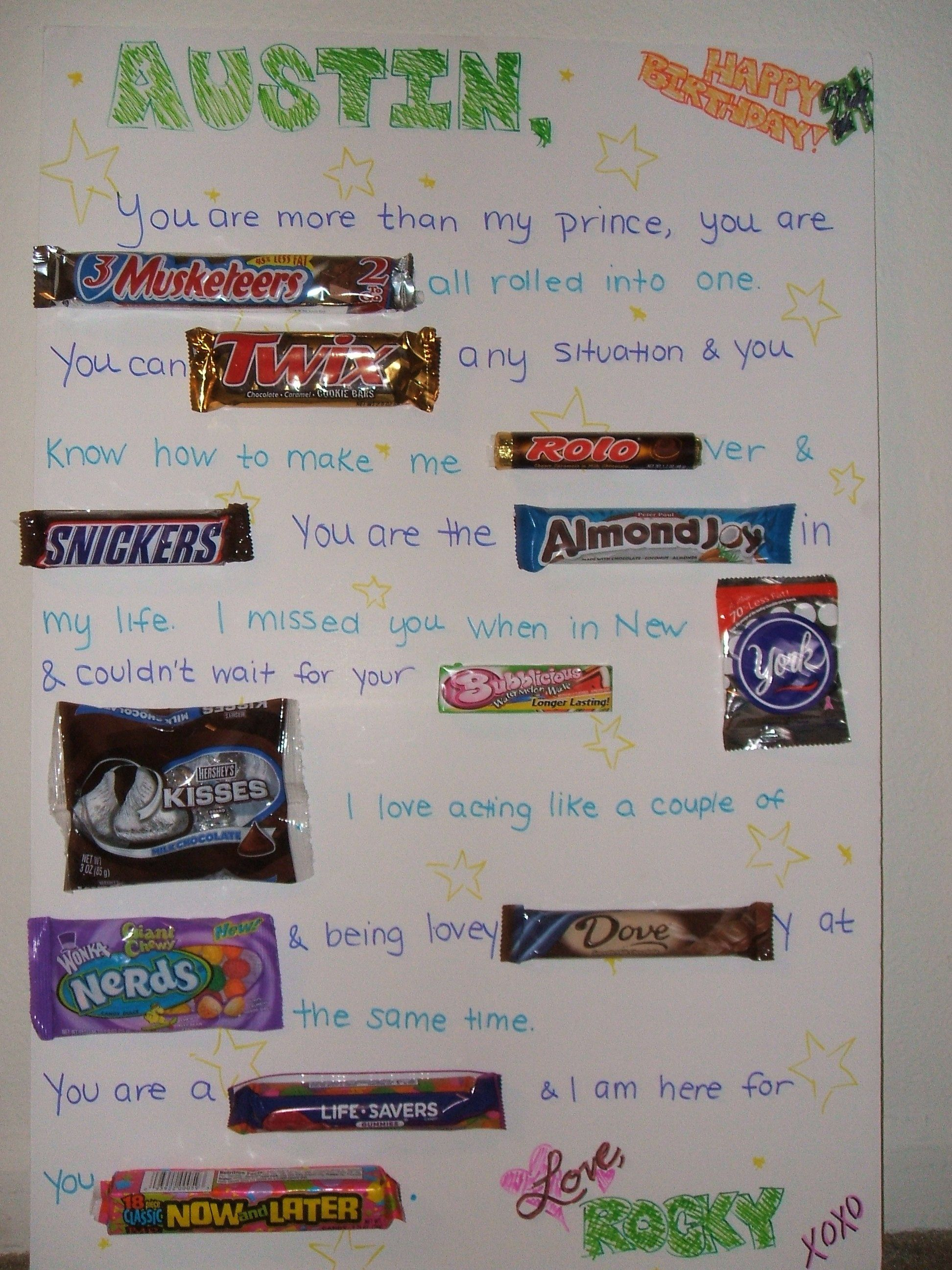 This Is A Giant Candy Card I Made For Austin's Birthday
