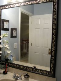 DIY Frame a Bathroom Mirror with Molding & Tile
