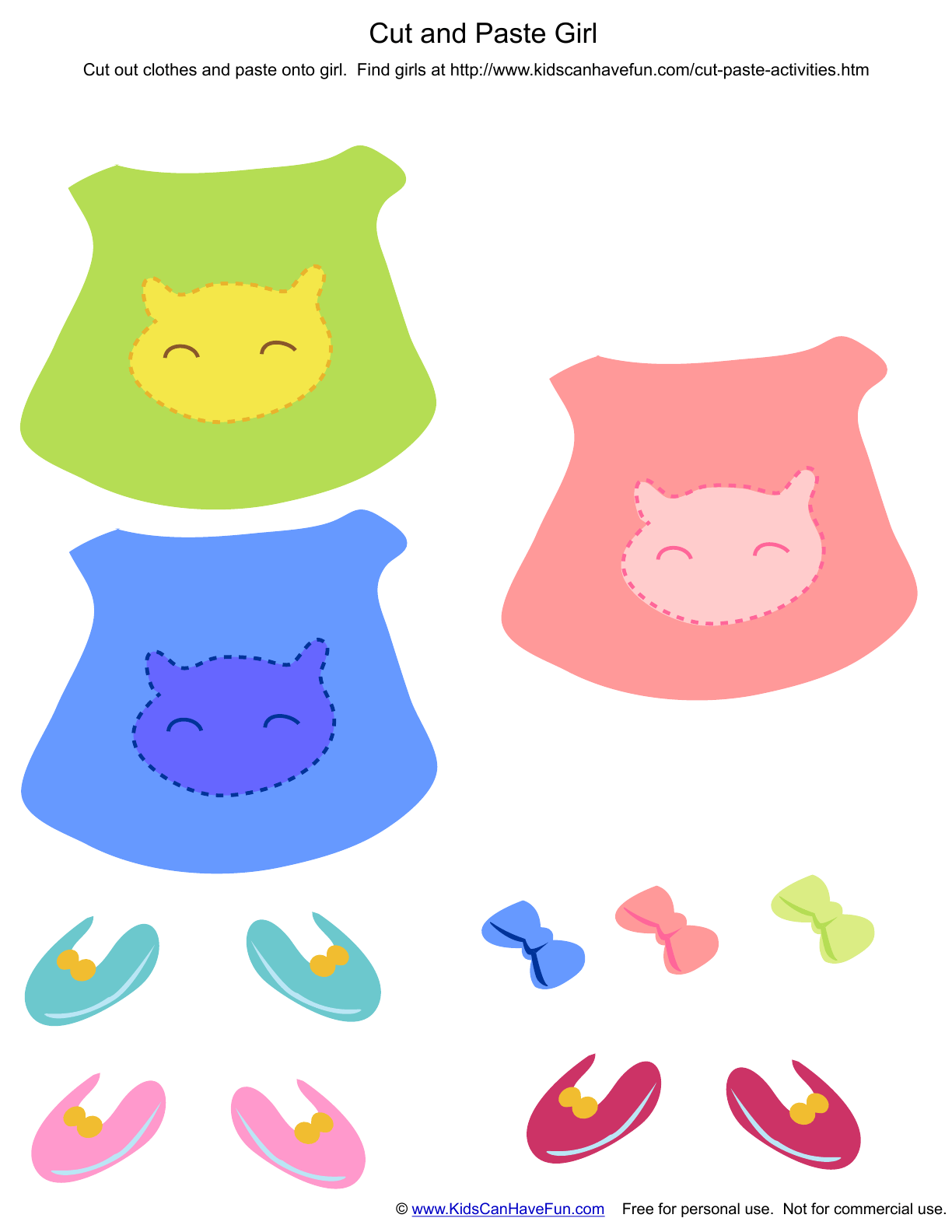 Cut And Paste Clothes To Dressup Girls Printed Separately