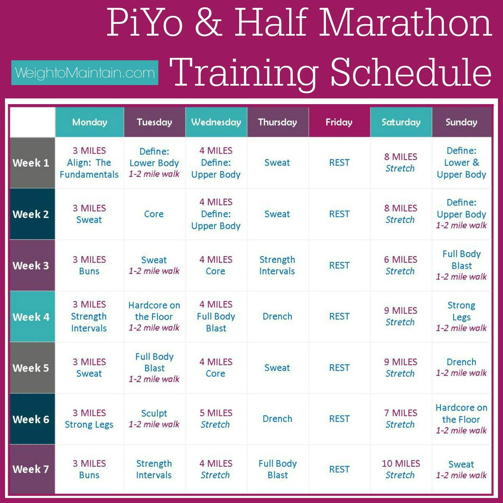 Piyo Half Marathon Training Plan