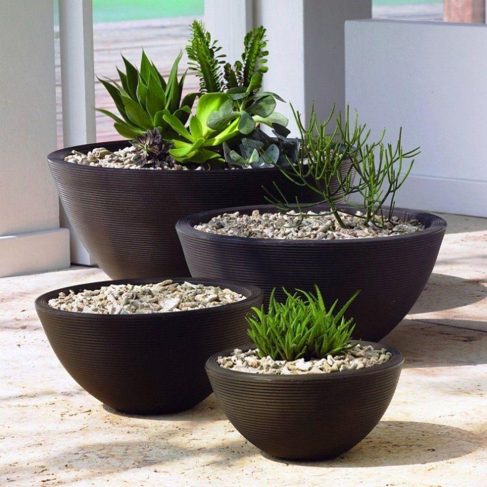 Large Black Flower Pots For Modern Home Decoration Baeutify Front