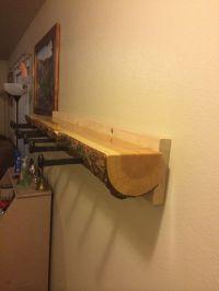 Log coat rack with railroad spike hangers. | Rustic ...