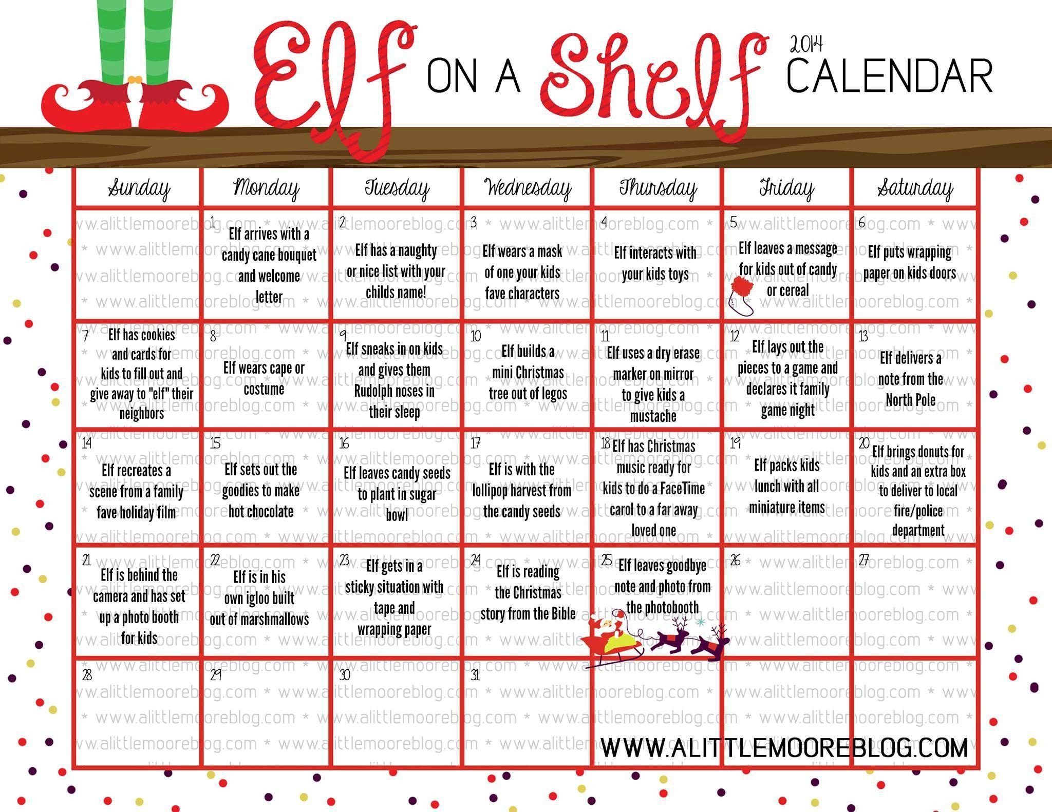 Elf On The Shelf Calendar Alittelmooreblog