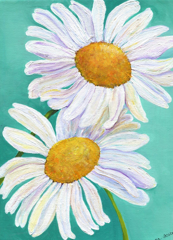 Shasta Daisy Acrylic Painting Floral Artwork Home Decor Flowers