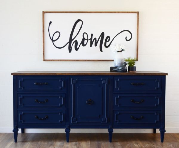 Deep Navy Blue TV Stand converted from an old dresser The