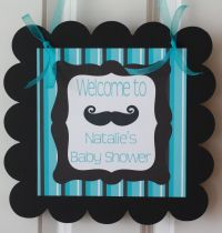 Boy Baby Shower Mustache Theme | Door Sign Hanger Mustache ...