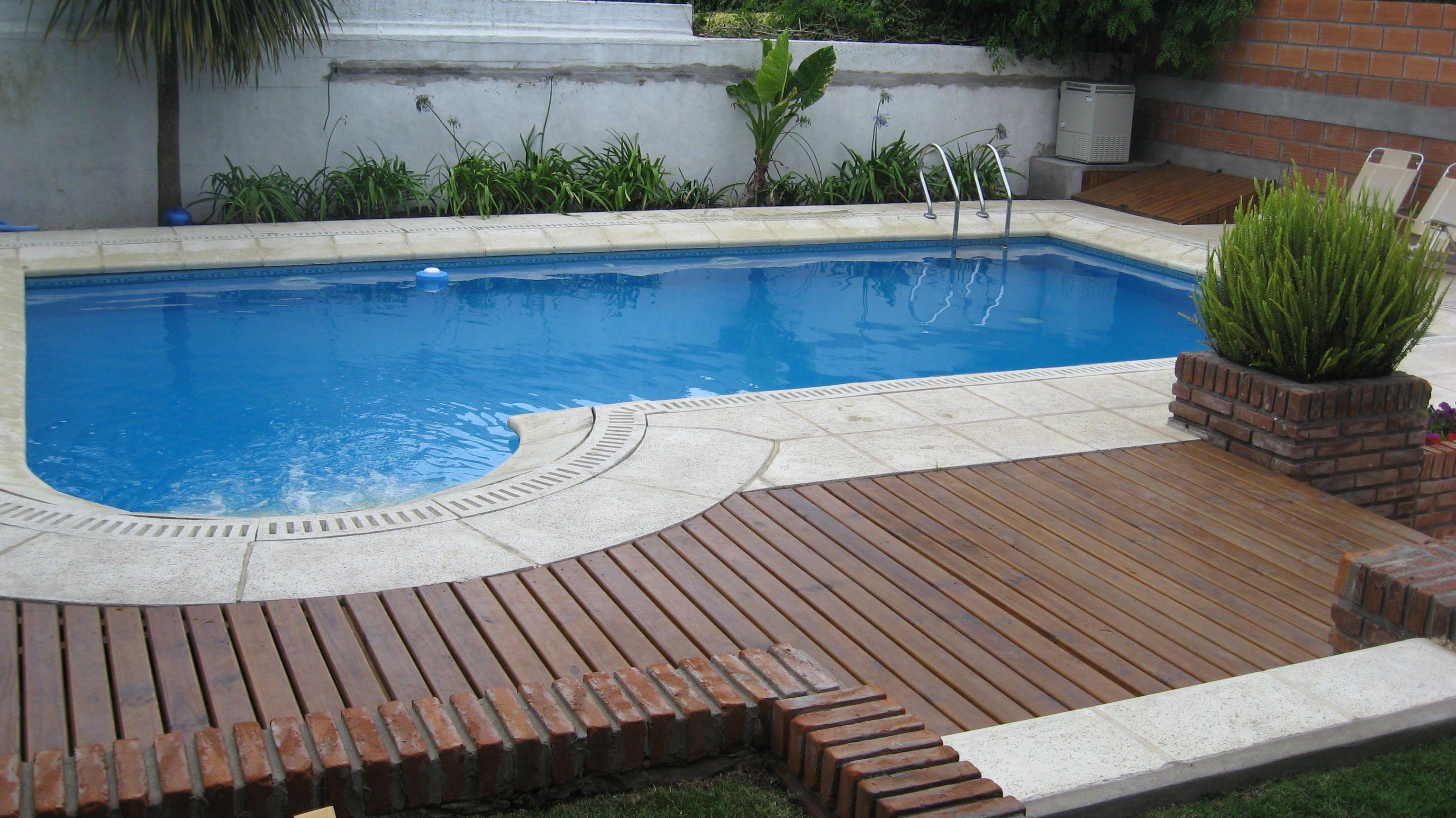 deck de madera y piscina  Piscina con deck  Pinterest