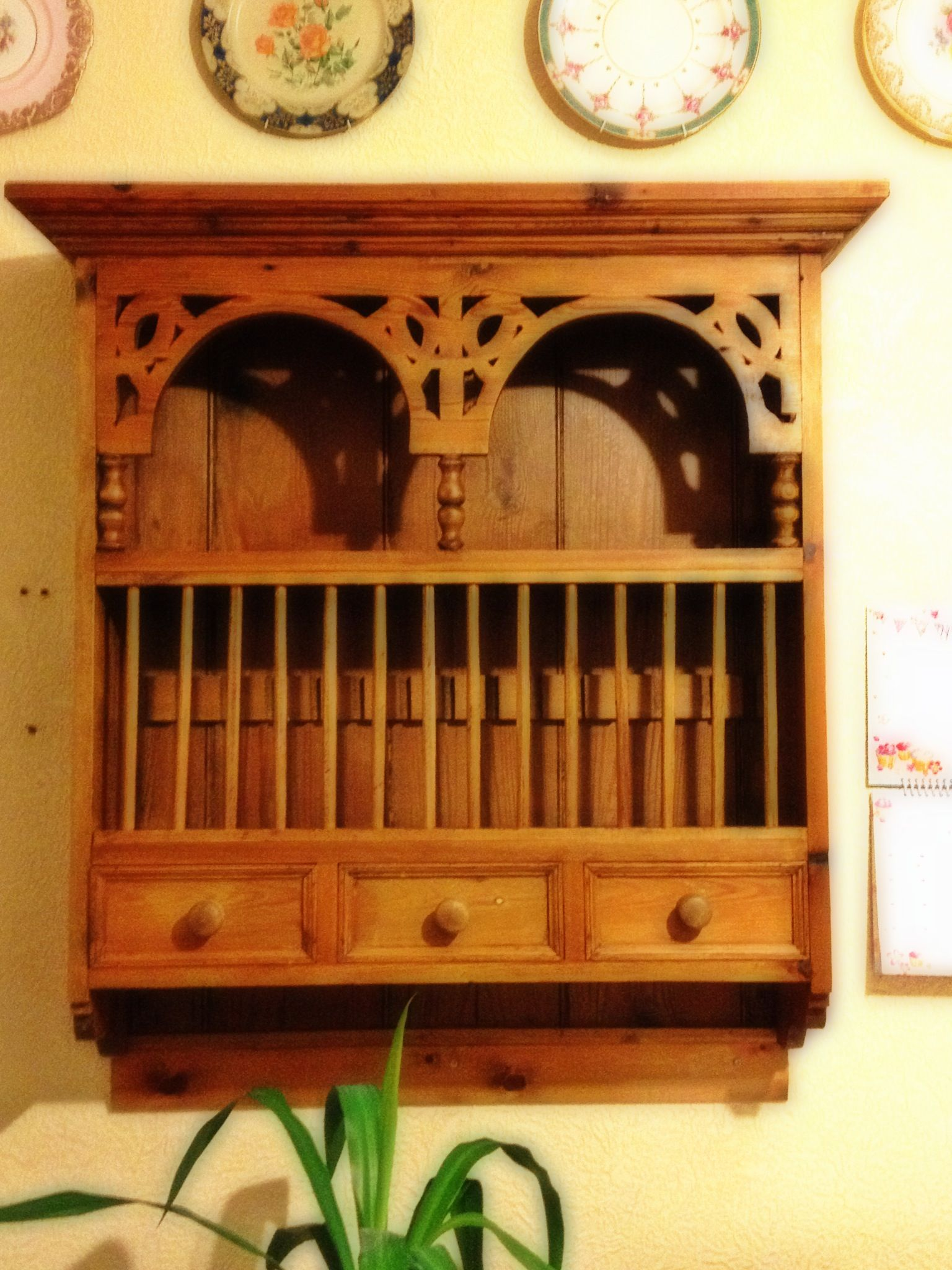 wooden kitchen plate rack cabinet appliences vintage wall mounted home decor pinterest