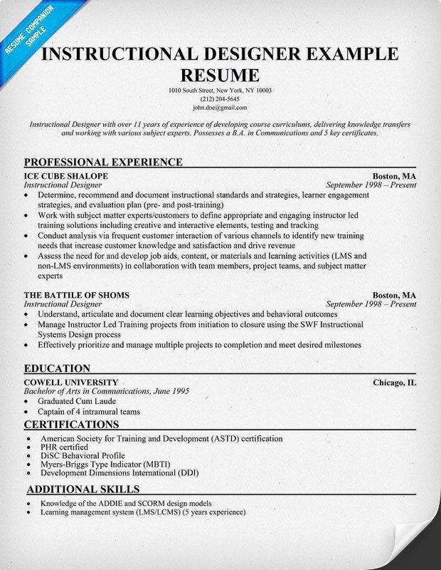 Instructional Designer Resume Sample Interest In Resume Most