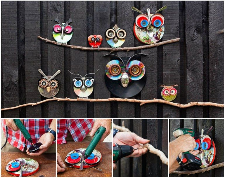 Creative Ideas DIY Cute Owl Decoration From Recycled Lids