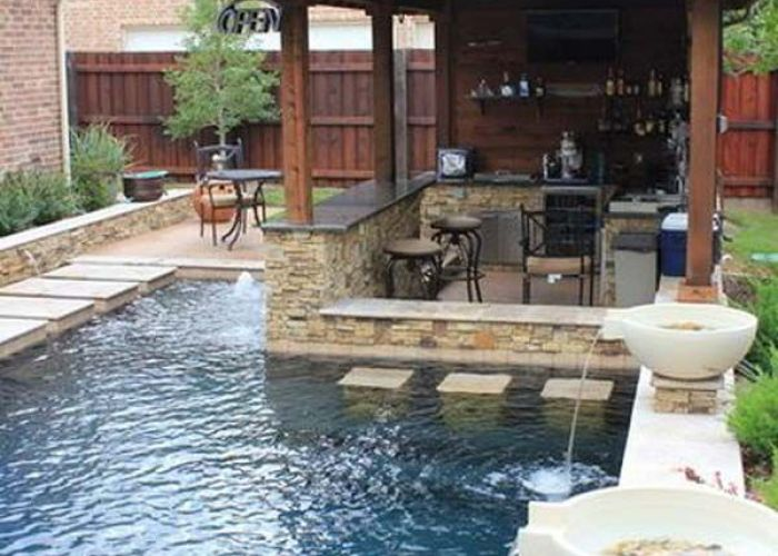 fabulous small backyard designs with swimming pool also