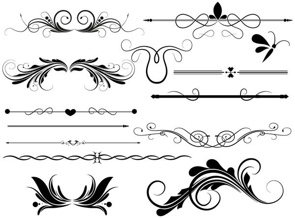 Divider & Page Decoration Vectors Designs Brushes, Shapes