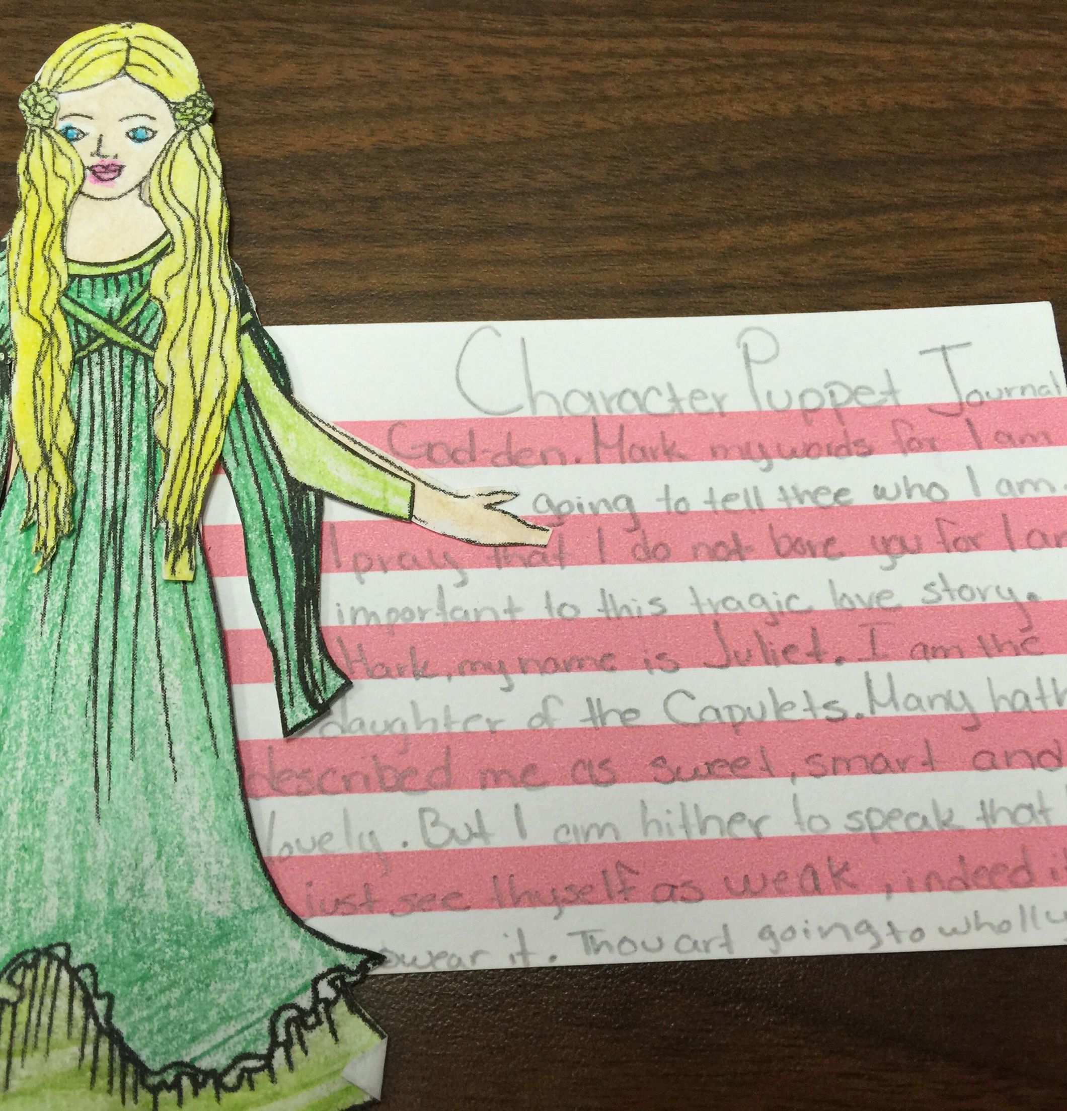 Romeo And Juliet Character Puppets Design Color And Introduce Character Using Shakespearean