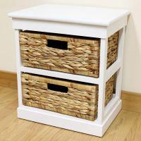 White 2 Drawer Basket Bedside Cabinet/Home Storage Unit ...