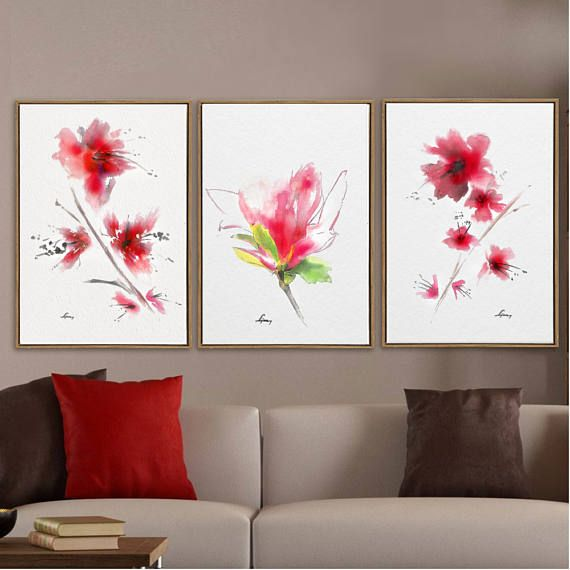 Flower wall art living room decor pink also rh pinterest