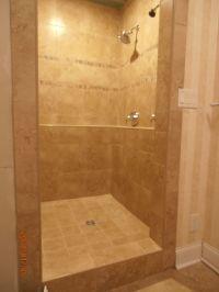 Newly remodeled shower. Porcelain tile Rappalano Ocre ...