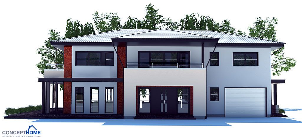 Modern House Plan with four bedrooms Large master bedroom Small family room on the second