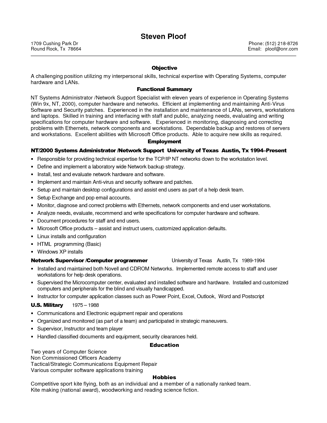 Top Ten Resume Format Sample Resume For Experienced It Professional Sample