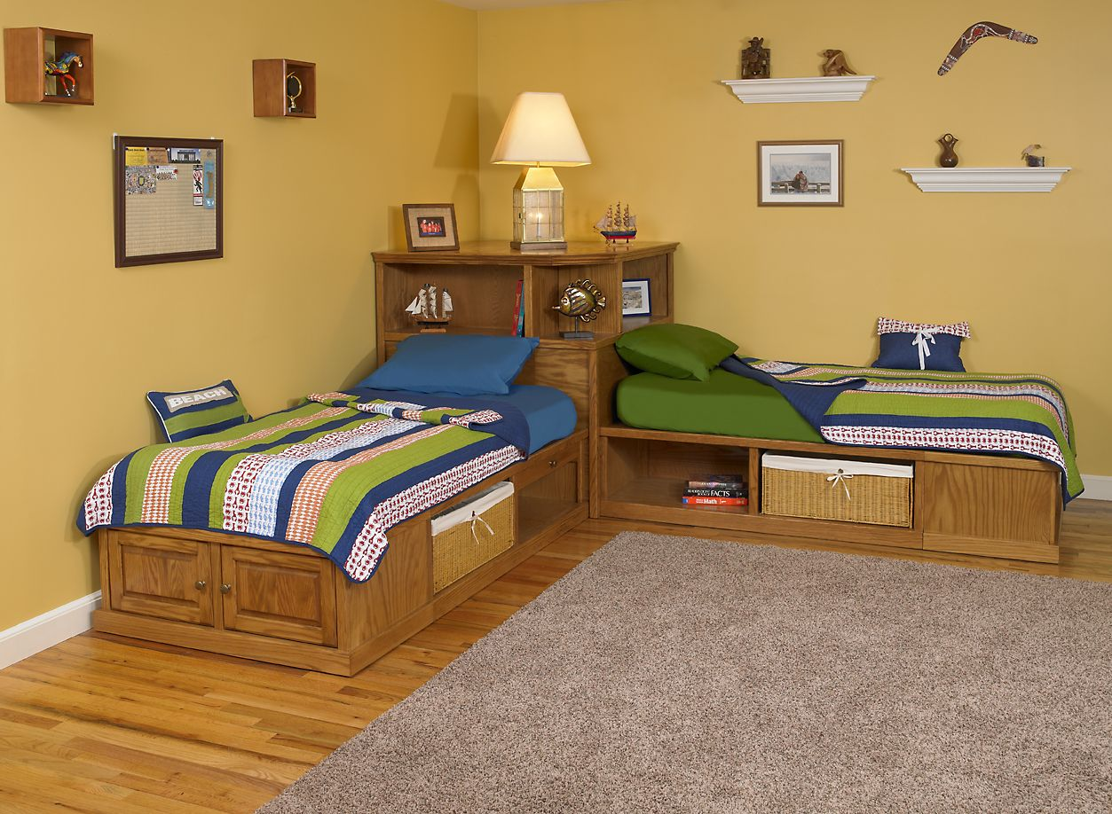 Gentil Corner Twin Beds With Storage