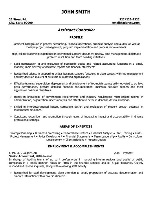 Click Here To Download This Assistant Controller Resume Template