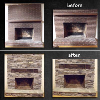 Fireplace Remodel  stone veneer over brick  Home