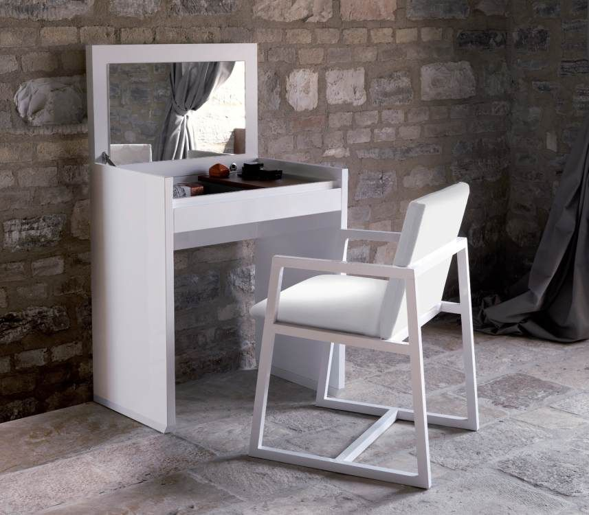 simple white wooden small vanity table plus chair set over