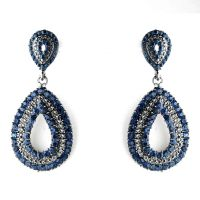 Navy Blue Crystal Wedding and Prom Earrings | Prom ...