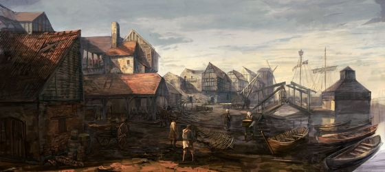 medieval fantasy concept landscape town cities witcher drawings