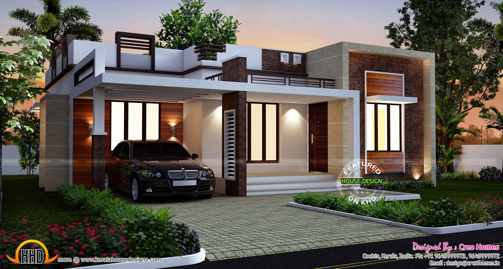 Single storey home flat roof future vertical expansion 6 social side - Designs Homes Design Single Story Flat Roof House Plans