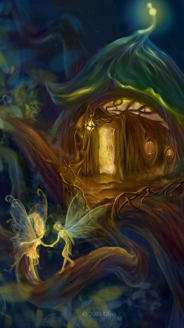Mystical Creatures In The Fall Wallpaper Fairy House On The Tree Magical Amp Mythical Pinterest
