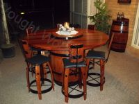 Wine barrel bistro table with 6 chairs (Night time photo ...