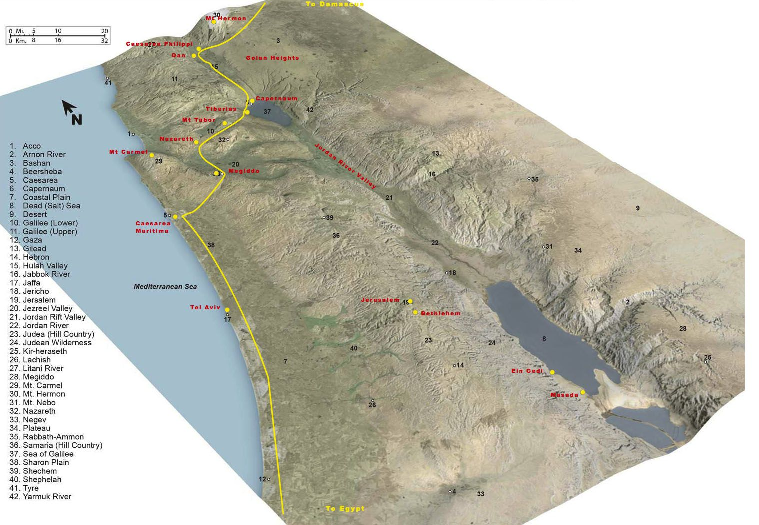Israel Topograhpic Map