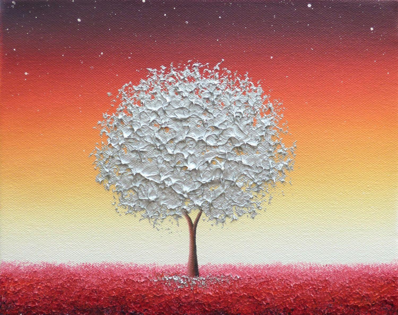 Silver Tree Painting, Canvas Art Impasto Painting