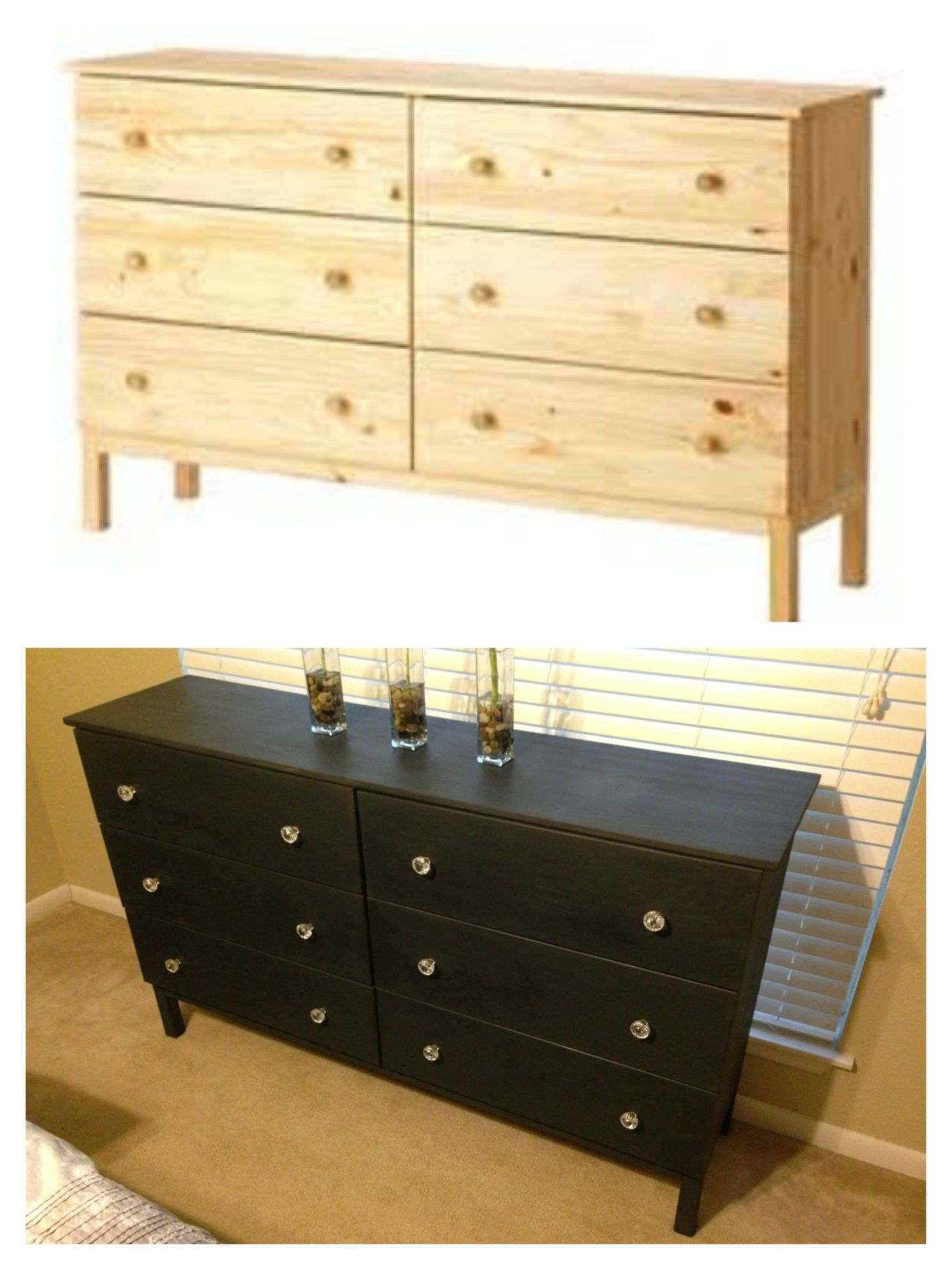 Ikea Tarva dresser refinished with Annie Sloan chalk paint in Graphite with clear wax finish and