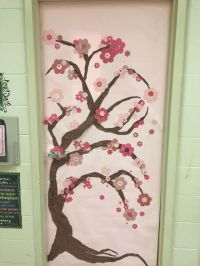 Spring classroom door: Japanese cherry blossom tree