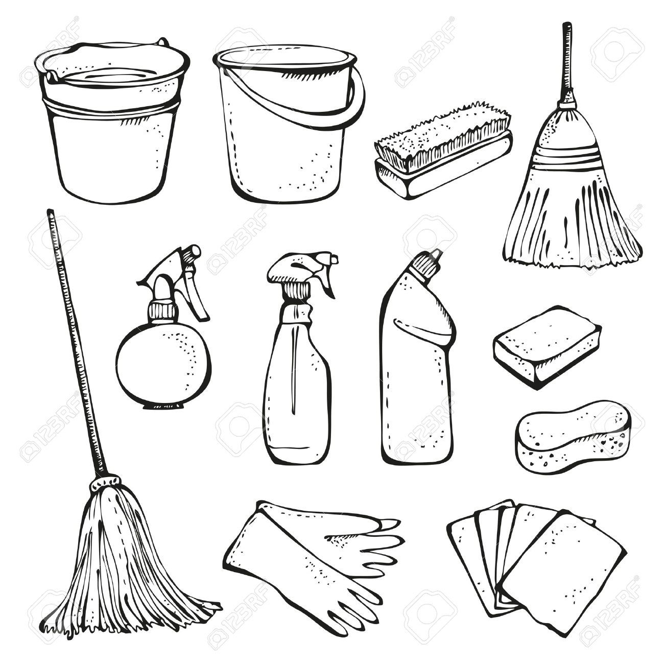 Home Office Cleaning Supplies Doodle Clip Art Icons Stock Vector