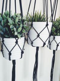Macrame Plant Hanger - Black Plant Hanger - Hanging ...