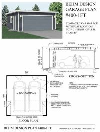 2 Car Flat Roof Garage Plan No 400-1FT by Behm Design 20 ...