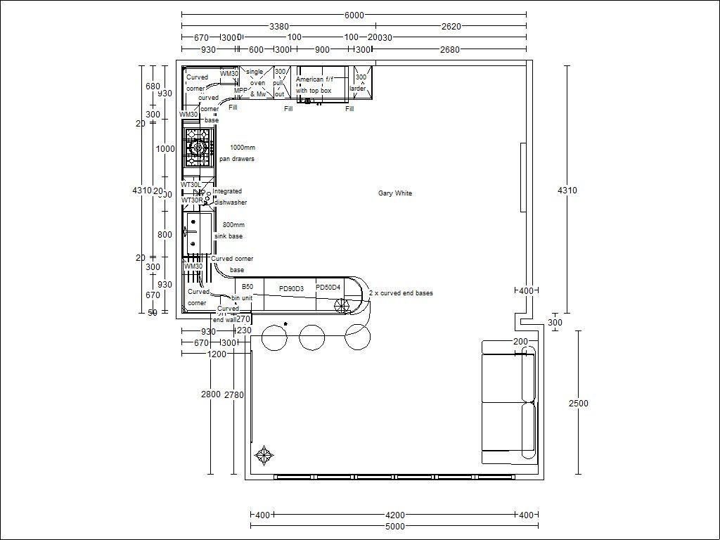 Proper Peninsula Kitchen Floor Plan Architectural Drawings