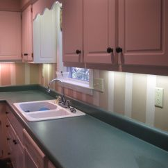 Pink Countertops Kitchen Lg Appliance Packages Hand Painted Backsplash Stripes My House