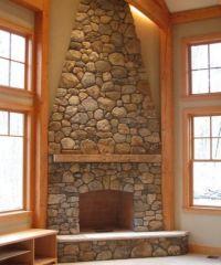 rock fireplace images | Large Stone Corner Fireplace ...