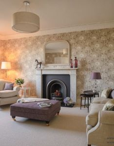 Living room design idea lilac beige purple upholstered stool nina campbell also rh pinterest