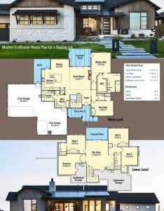 Architectural designs modern craftsman house plan rw has  great exterior and walkout lower level also for sloping lot rh za pinterest