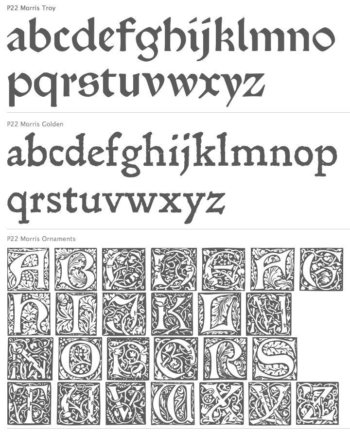 fonts typefaces of Arts and Crafts Movement William Morris