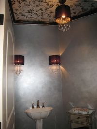 Powder Room with Metallic paint on ceiling stencil and ...