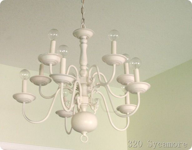 Spray Painted The Brass Chandelier Use Small Globe Lightbulbs Get A Medallion And Cute Lighting In Entry Way Hens