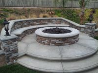Natural gas stone firepit. Stone veneer. 6 foot round