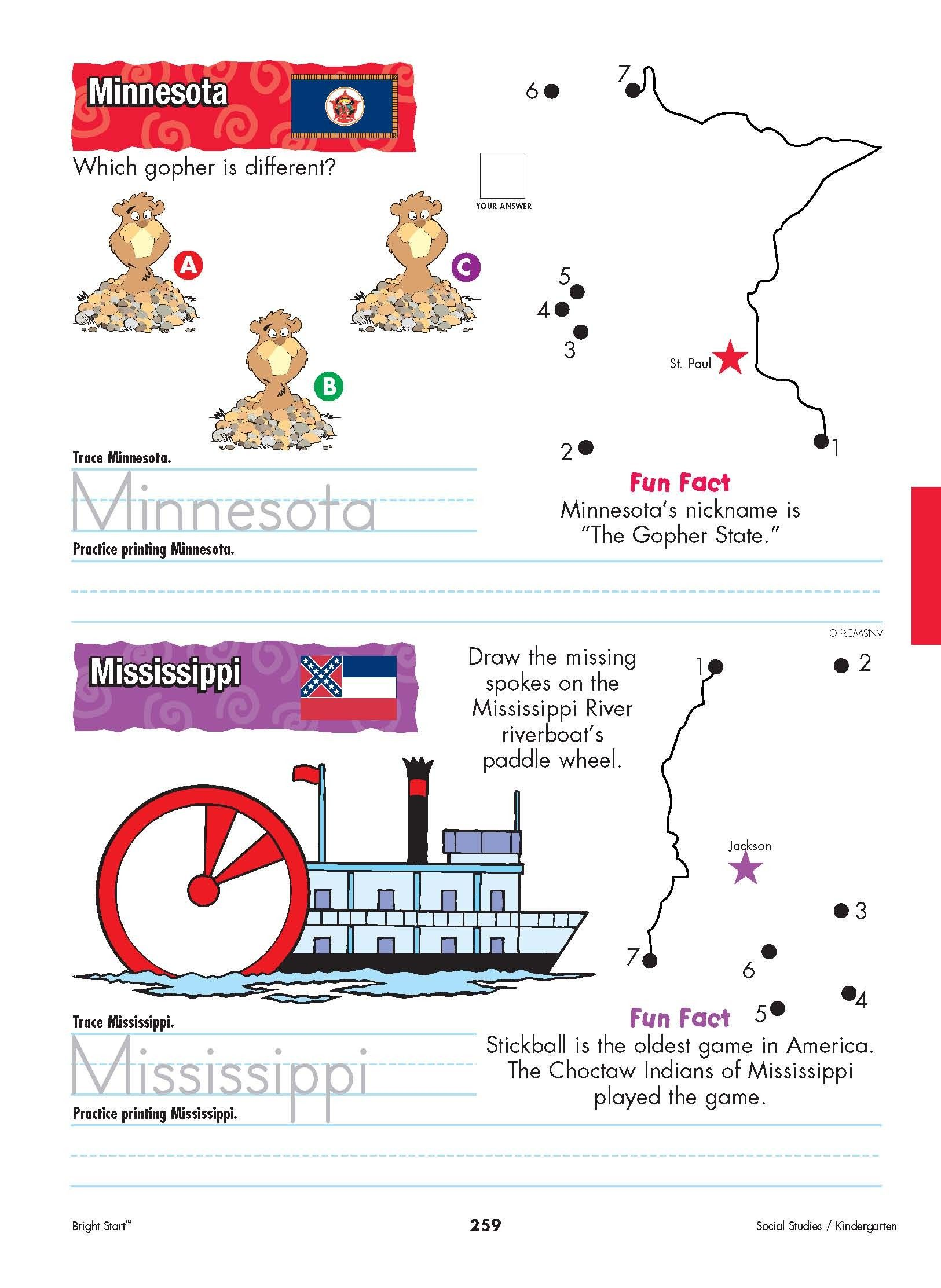 Minnesota And Mississippi Your Kindergartener Can Practice Writing The State Name And Learn The