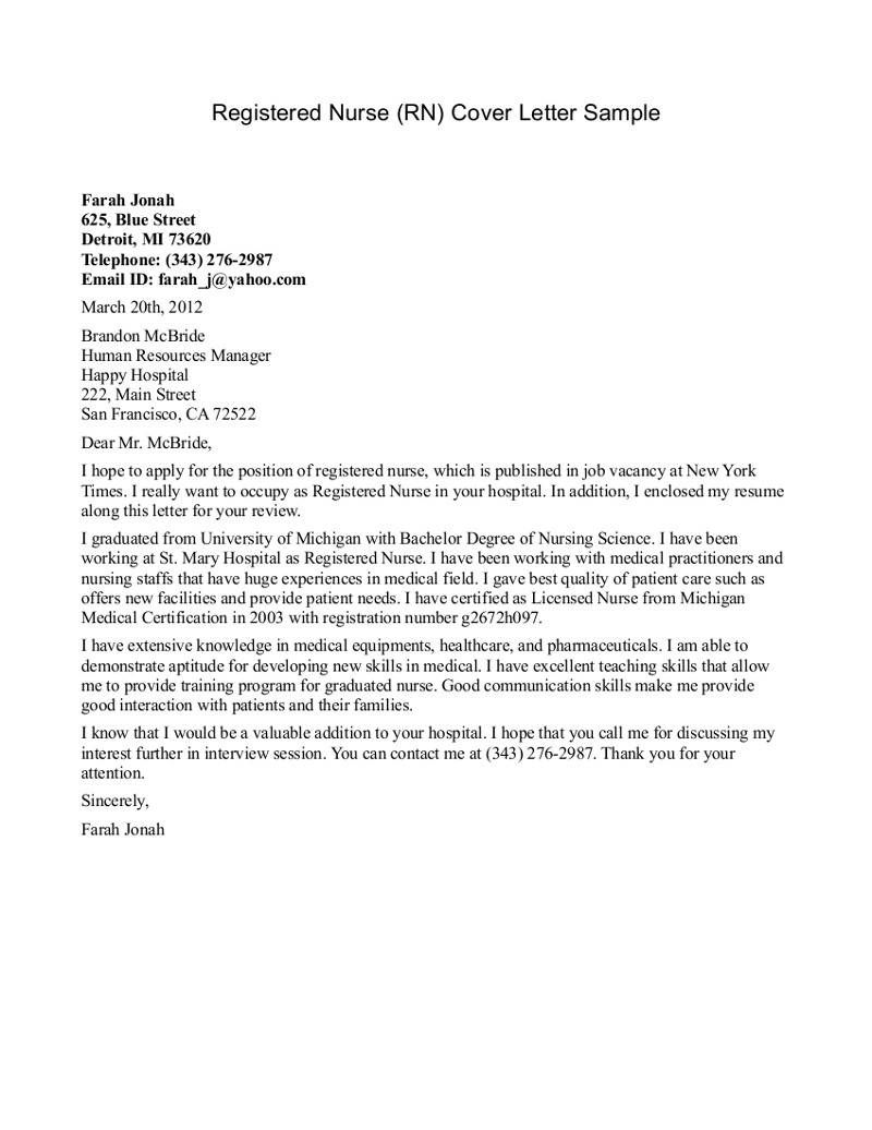 New Grad Nurse Cover Letter Example Nursing Cover Letter